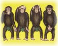 The fourth wise monkey - Visual Joke